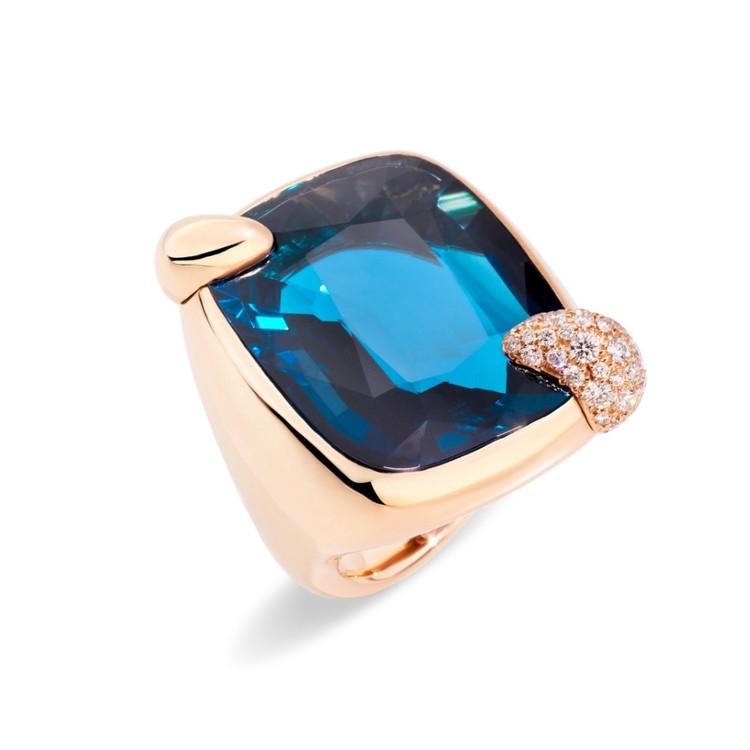 *PRE-ORDER* Pomellato Ritratto 18K Rose Gold London Blue Topaz Ring
