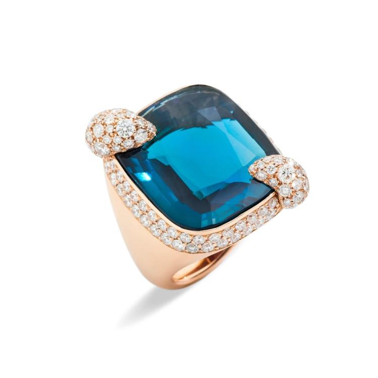 *PRE-ORDER* Pomellato Ritratto 18K Rose Gold London Blue Topaz Diamond Ring