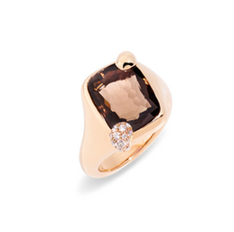 Pomellato 18K Rose Gold Smoky Quartz Ritratto Ring
