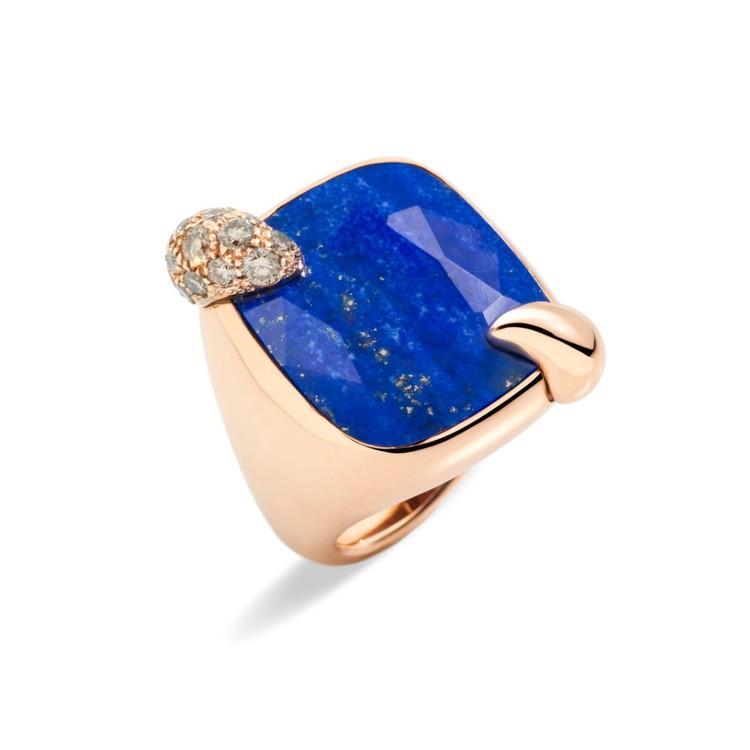 *PRE-ORDER* Pomellato Ritratto 18K Rose Gold Lapis and Brown Diamond Ring