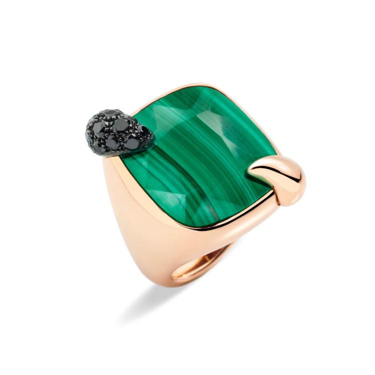 *PRE-ORDER* Pomellato Ritratto 18K Rose Gold Malachite and Black Diamond Ring