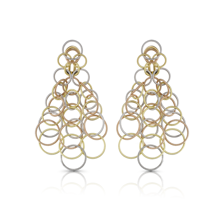 *PRE-ORDER* Buccellati Hawaii Pendant Earrings in Yellow, White and Pink Gold (7CM)