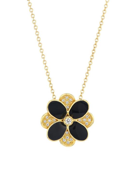 *PRE-ORDER* Marco Bicego Petali 18K Yellow Gold Black Enamel and Diamond Pave Pendant