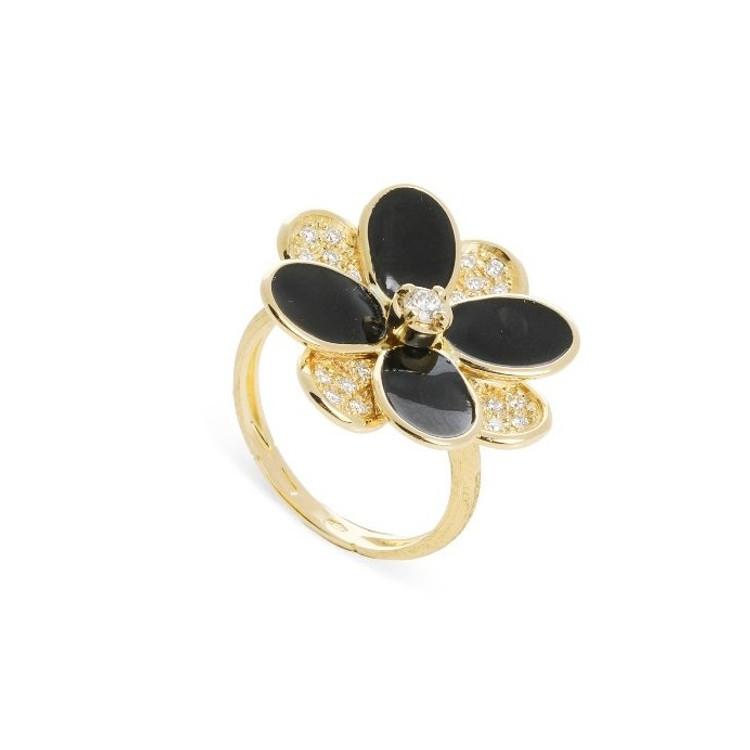 *PRE-ORDER* Marco Bicego Petali 18K Yellow Gold Black Enamel and Diamond Pave Ring