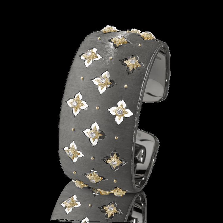 *PRE-ORDER* Buccellati Macri Giglio Cuff Bracelet in Black and Yellow Gold