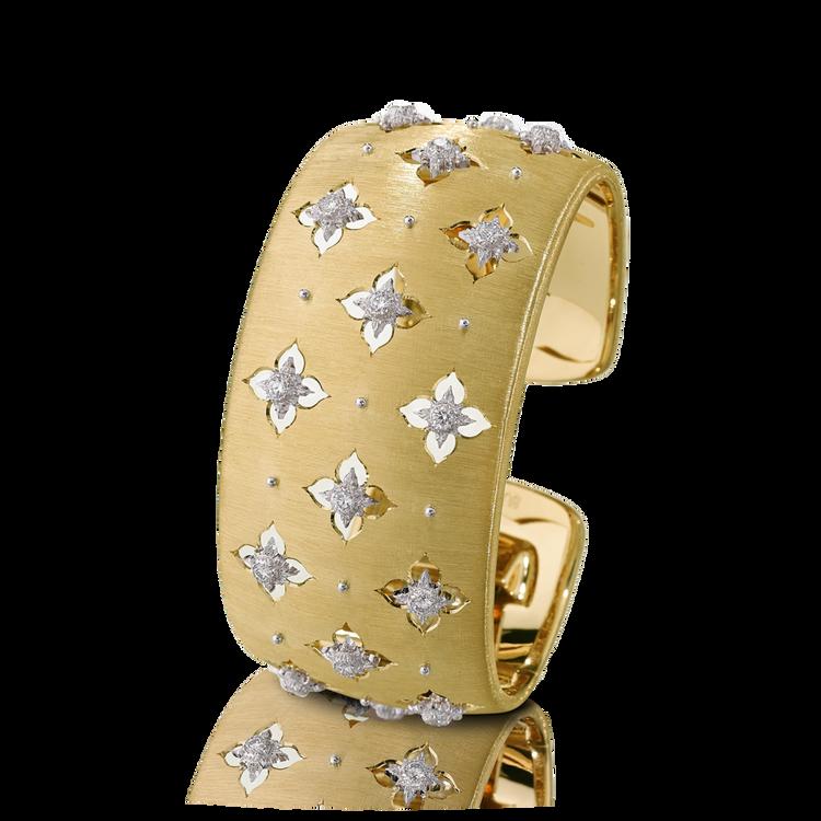 *PRE-ORDER* Buccellati Macri Giglio Cuff Bracelet in Yellow and White Gold