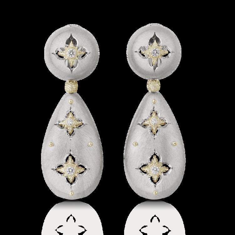 *PRE-ORDER* Buccellati Macri Giglio Pendant Earrings in White and Yellow Gold