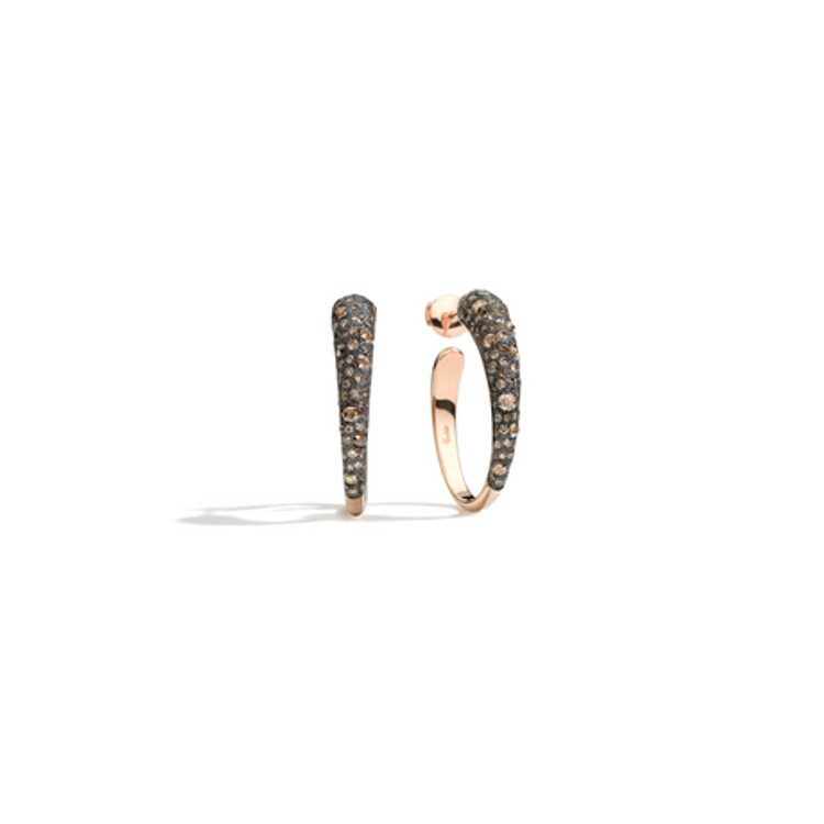 Pomellato 18K Rose Gold Oval-Shape Hoop Brown Diamond Earrings