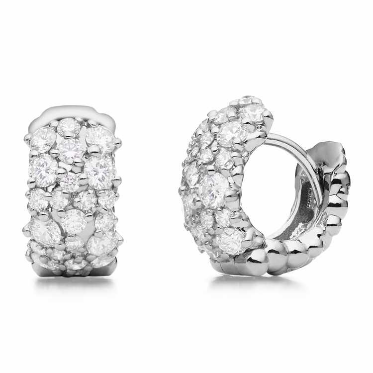 Paul Morelli 18K White Gold Small Confetti Snap Hoop Earrings with Diamonds