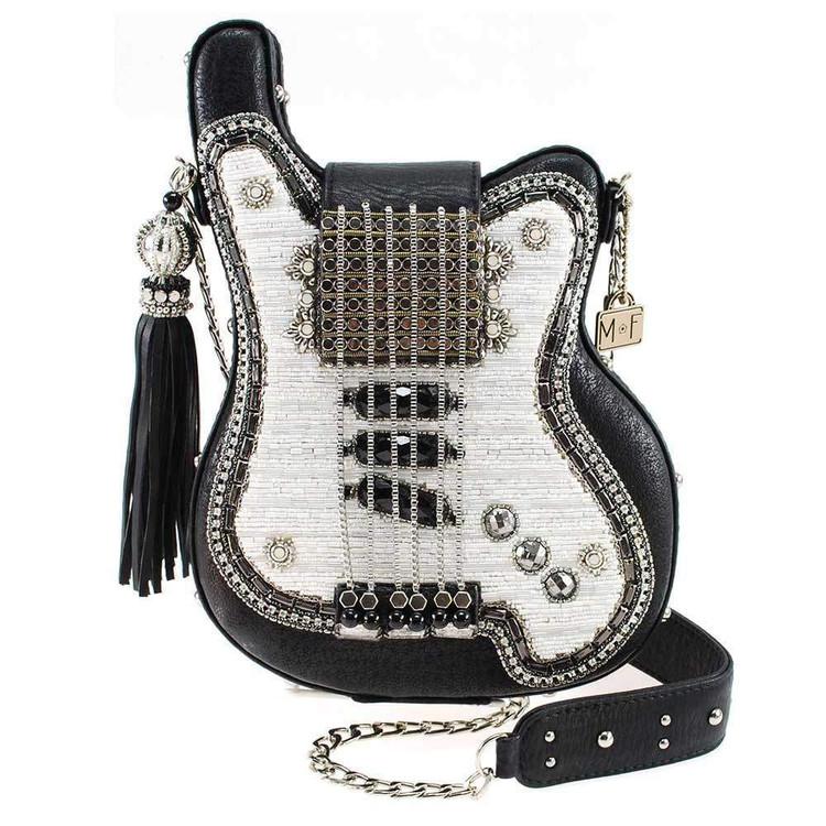 Mary Frances Greatest Hits Embellished Guitar Crossbody Handbag