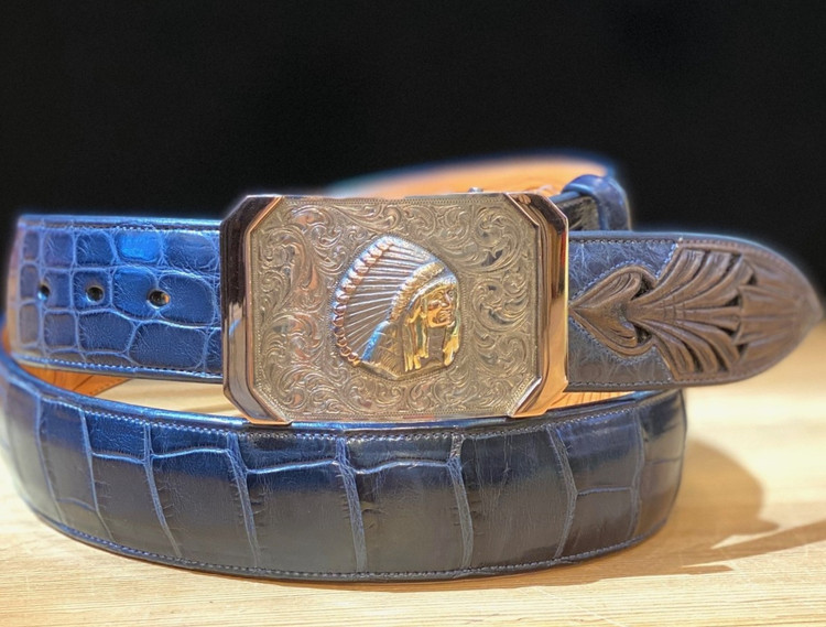 Bohlin Steriling Silver and Gold Historic Chief Red Wolf Trophy Buckle