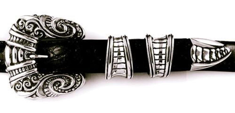 """Jeff Deegan Designs Sterling Silver 4 PC Carved Gothic Buckle Set, 1"""""""