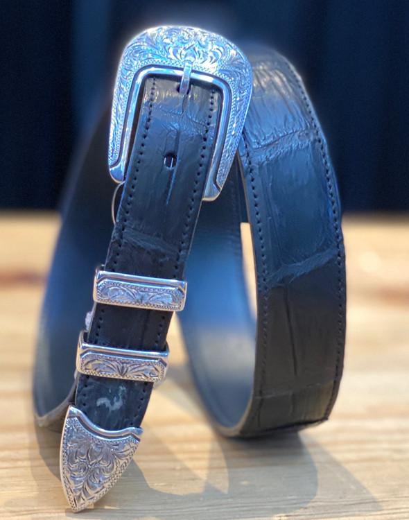 "Chacon Belts & Buckle 1"" Sterling Silver El Camino Engraved Buckle"