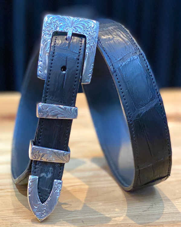 """Chacon Belts & Buckle 1"""" Sterling Silver Santa Fe Engraved Buckle"""