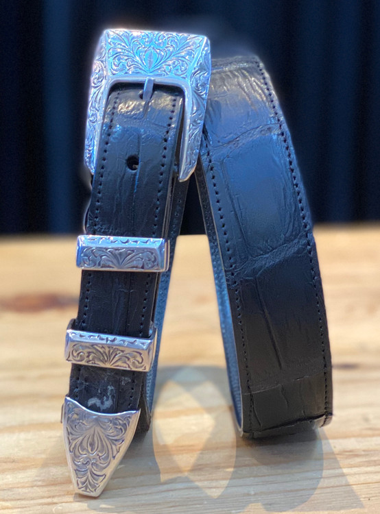 """Chacon Belts & Buckle 1"""" Sterling Silver New York Engraved Buckle"""