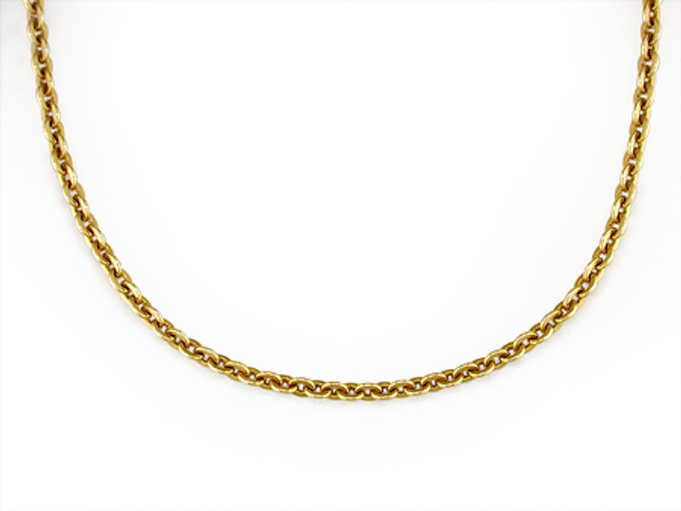 Ruth Taubman 18K Yellow Gold Vintage French Flat Cable Chain Necklace