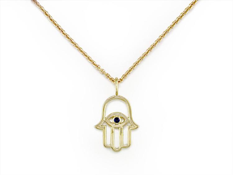 *PRE-ORDER* Ruth Taubman 14K Yellow Gold and Blue Sapphire Hamsa Hand Pendant
