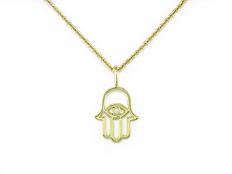 *PRE-ORDER* Ruth Taubman 18K Yellow Gold  and Diamond Hamsa Pendant