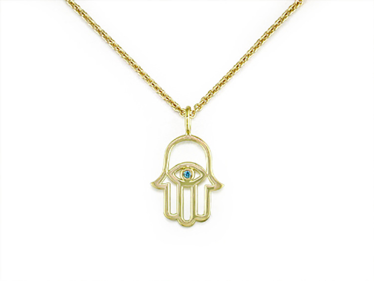 Ruth Taubman 18K Yellow Gold and  Blue Diamond Hamsa Pendant