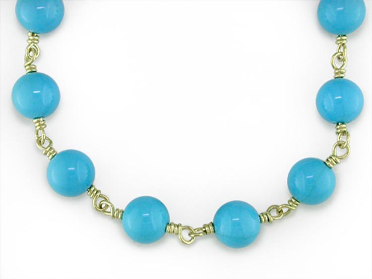 Ruth Taubman 18K Yellow Gold Sleeping Beauty Arizona Turquoise Necklace