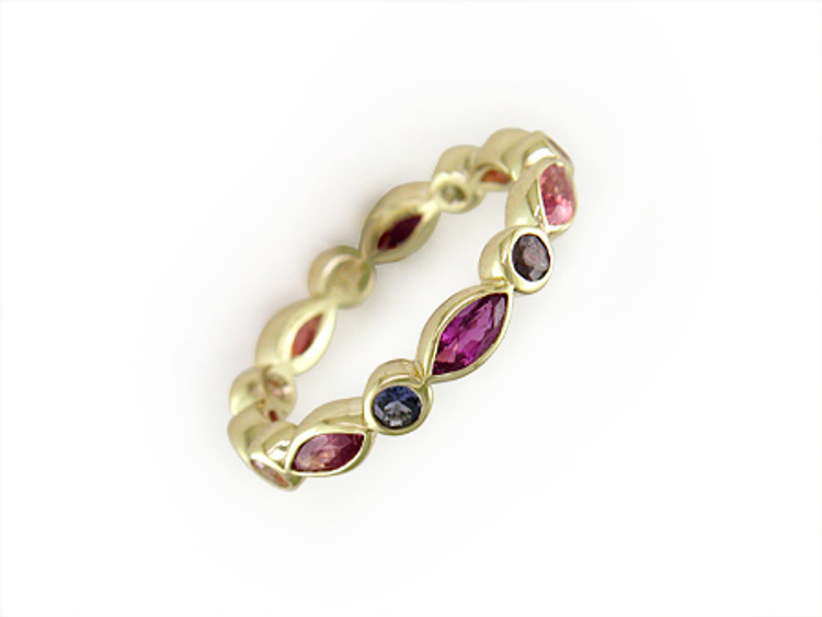 Ruth Taubman 18K Yellow Gold Round and Marquise Sapphire Eternity Ring