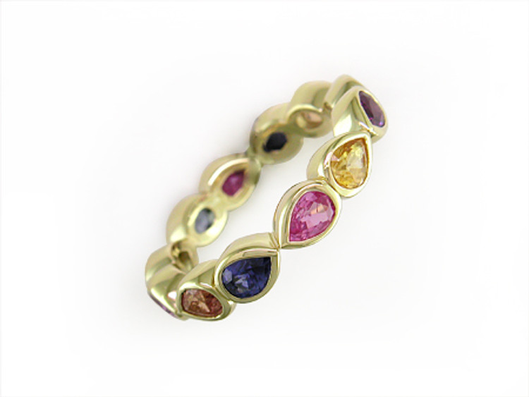 *PRE-ORDER* Ruth Taubman 18K Yellow Gold Pear Shape Sapphire Eternity Ring