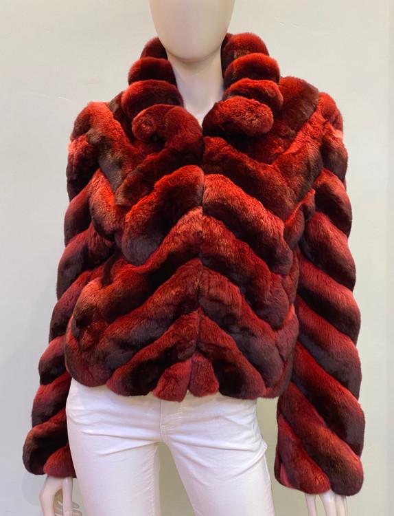 Augustina's Chinchilla Fur Coat in Merlot