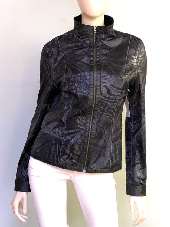 Alice Arthur Reversible Leather Jacket in Black/Abstract Swirl