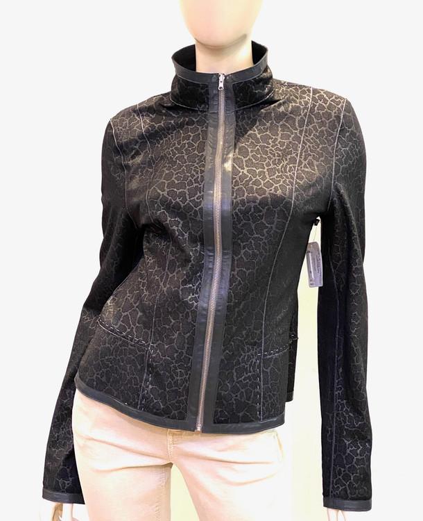 Alice Arthur Reversible Leather Jacket in Black/Monochromatic