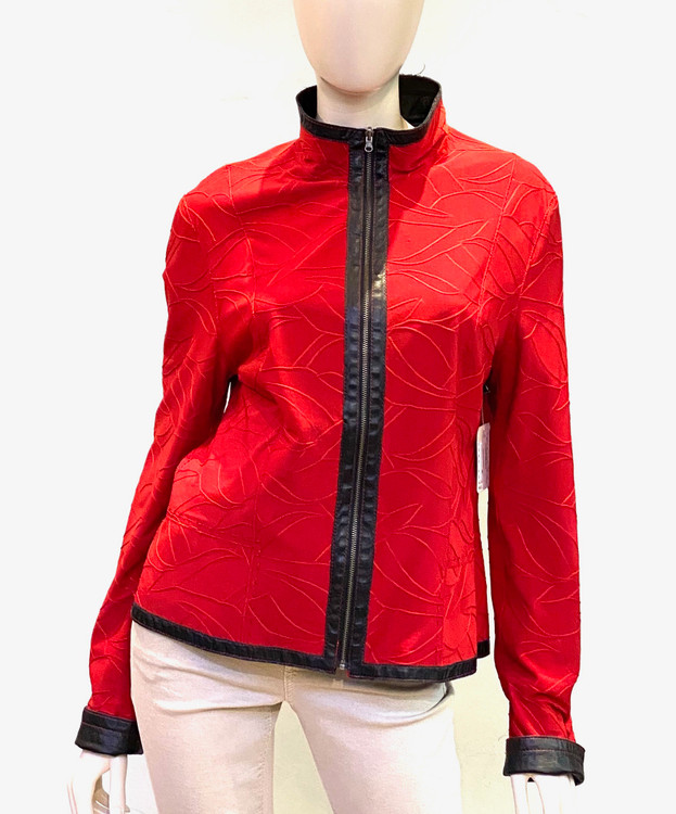 Alice Arthur Reversible Leather Jacket in Black/Red Monochromatic