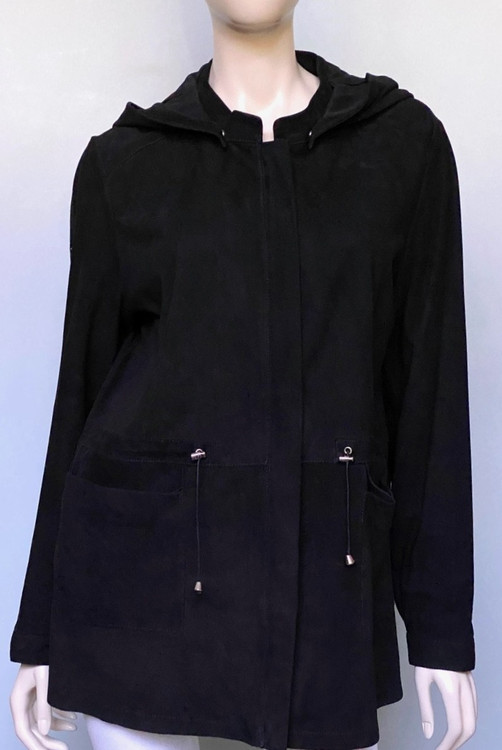 Augustina's Hooded Leather Jacket in Black