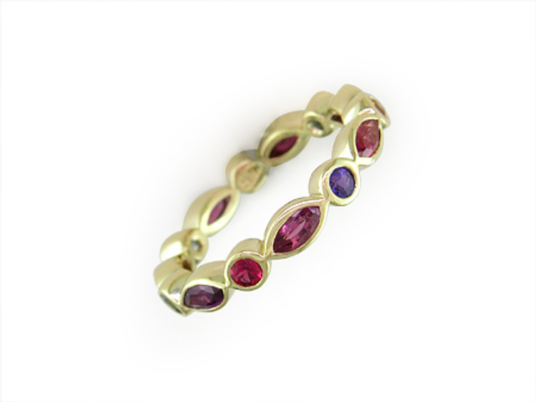 Ruth Taubman 18K Yellow Gold Round and Sapphire Eternity Ring
