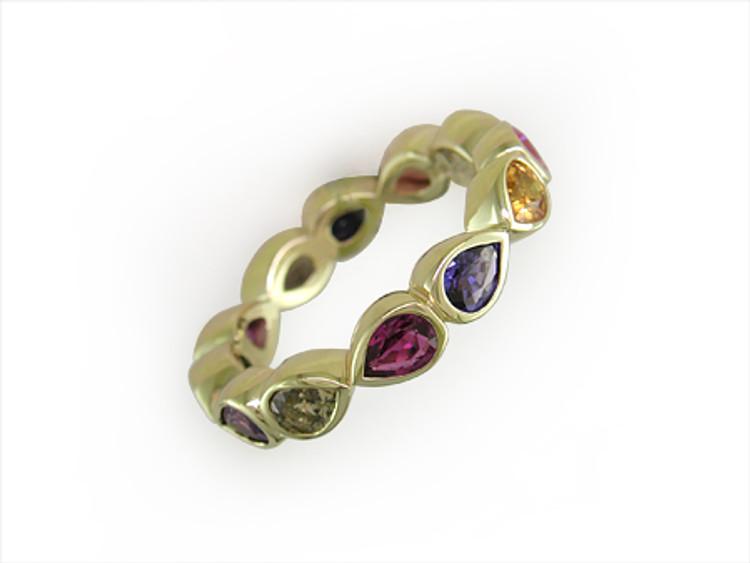 Ruth Taubman 18K Yellow Gold Pear Shape Bezel Set Sapphire Eternity Ring