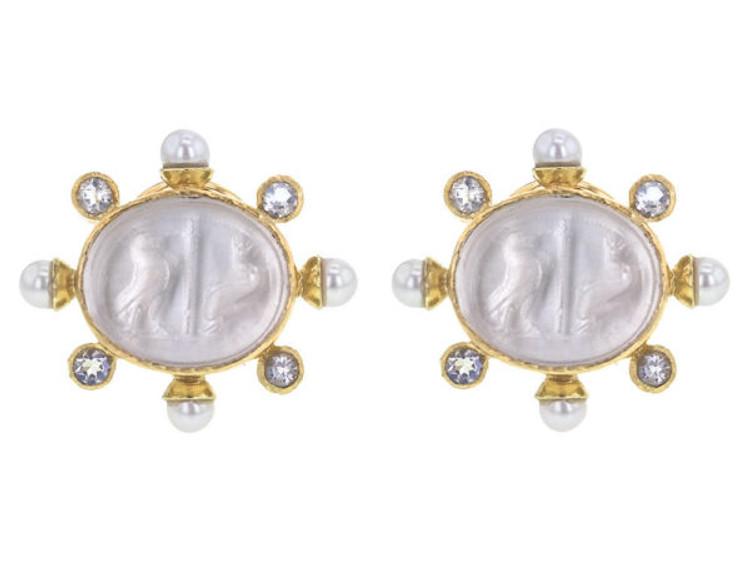 Elizabeth Locke Crystal Venetian Glass Intaglio Moonstone and Pearl Earrings