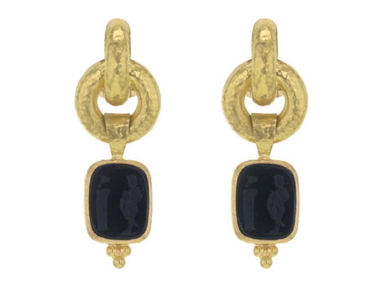 "Elizabeth Locke Black Venetian Glass Intaglio ""God and Pillar"" Cheerio Drop Earrings"