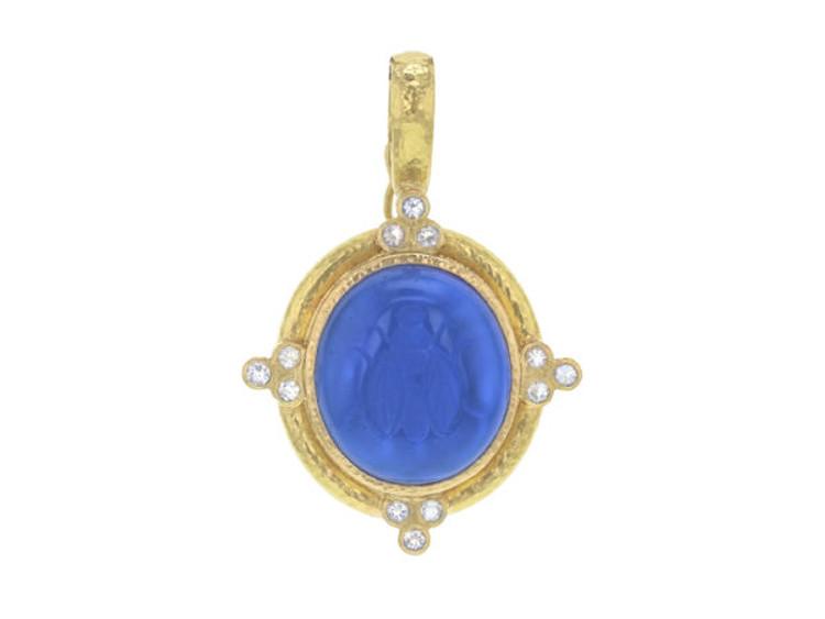 "Elizabeth Locke Peacock Venetian Glass Intaglio ""Cabochon Honey Bee"" Pendant with Faceted Moonstone Triads"
