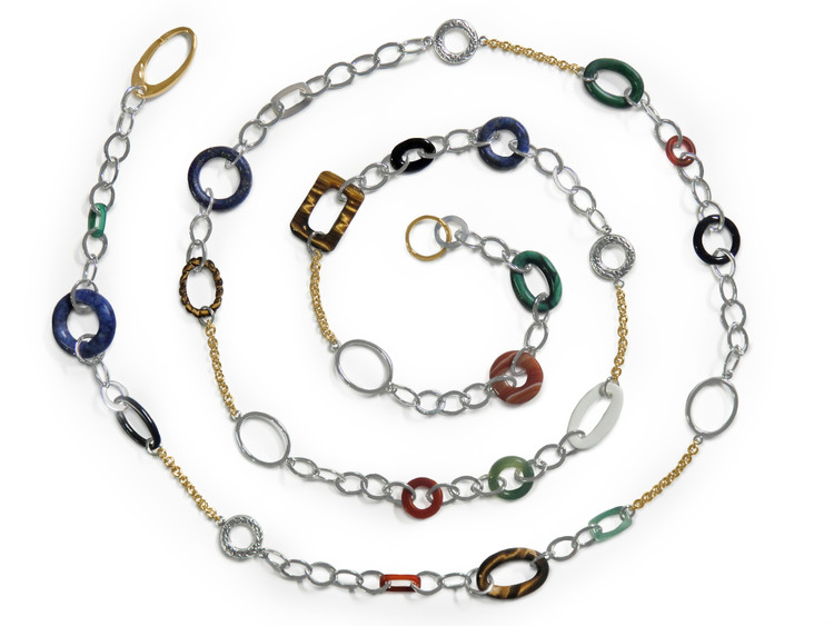 Ruth Taubman 18K Yellow Gold Multicolor Oval Link Necklace