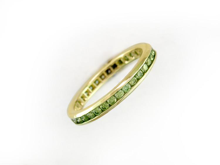 Ruth Taubman 18K Yellow Gold Light Green Diamond Eternity Ring