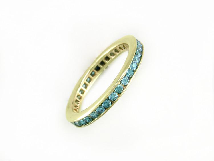 Ruth Taubman 18K Yellow Gold Blue Diamond Eternity Ring