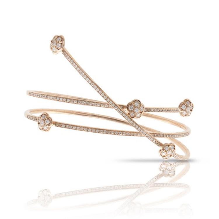 Pasquale Bruni 18k Rose Gold Figlia dei Fiori Bracelet with White and Champagne Diamonds