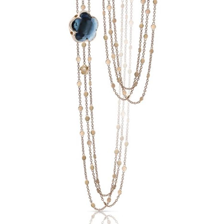 Pasquale Bruni 18k Rose Gold Bon Ton Necklace with London Blue Topaz and Diamonds