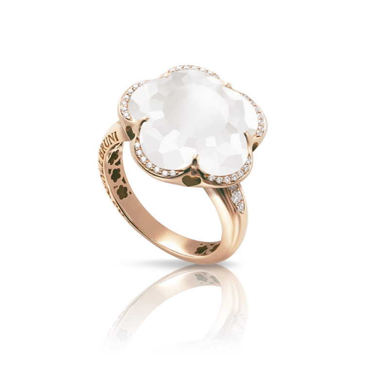 Pasquale Bruni 18k Rose Gold Bon Ton Ring with Milky Quartz and Diamonds