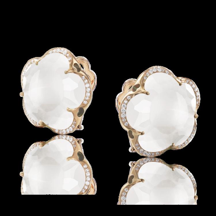 Pasquale Bruni 18k Rose Gold Bon Ton Earrings with Milky Quartz and Diamonds