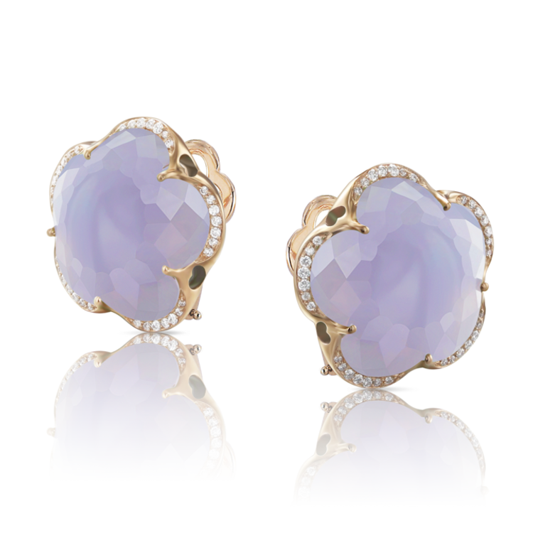 Pasquale Bruni 18k Rose Gold Bon Ton Earrings with Blue Chalcedony and Diamonds
