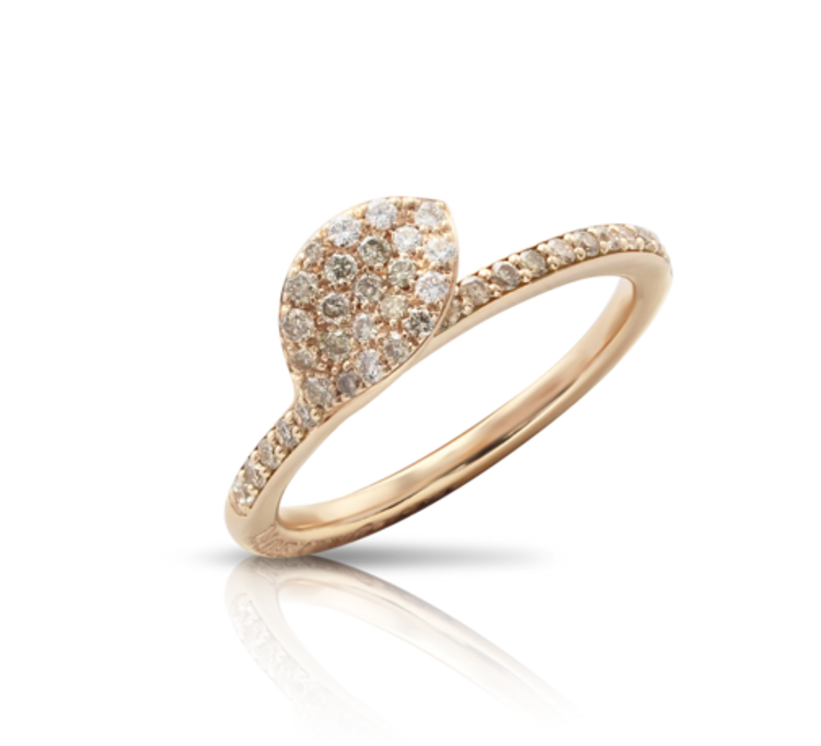 Pasquale Bruni 18k Rose Gold Petit Garden Ring with White and Champagne Diamonds