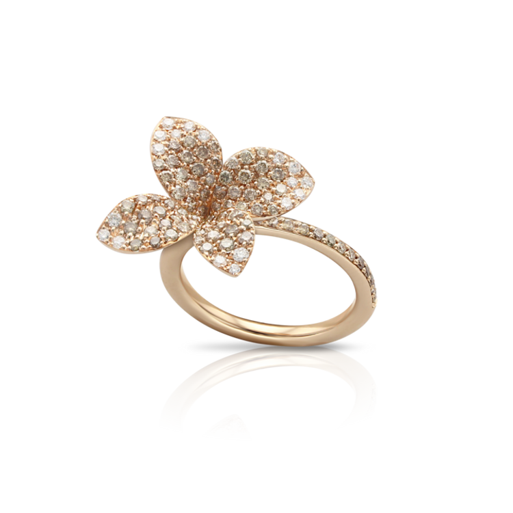 Pasquale Bruni 18k Rose Gold Petit Garden Flower Ring with White and Champagne Diamonds