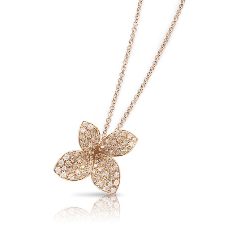 Pasquale Bruni 18k Rose Gold Petit Garden Necklace with White and Champagne Diamonds