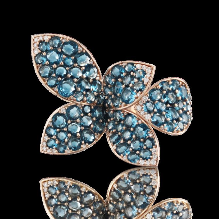 *PRE-ORDER* Pasquale Bruni 18k Rose Gold Segreti di Luna Ring with London Blue Topaz and Diamonds