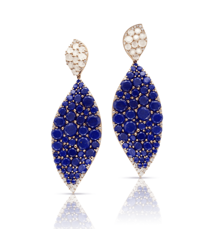 Pasquale Bruni 18k Rose Gold Lakshmi Earrings with Lapis Lazuli, Moonstone and Diamonds