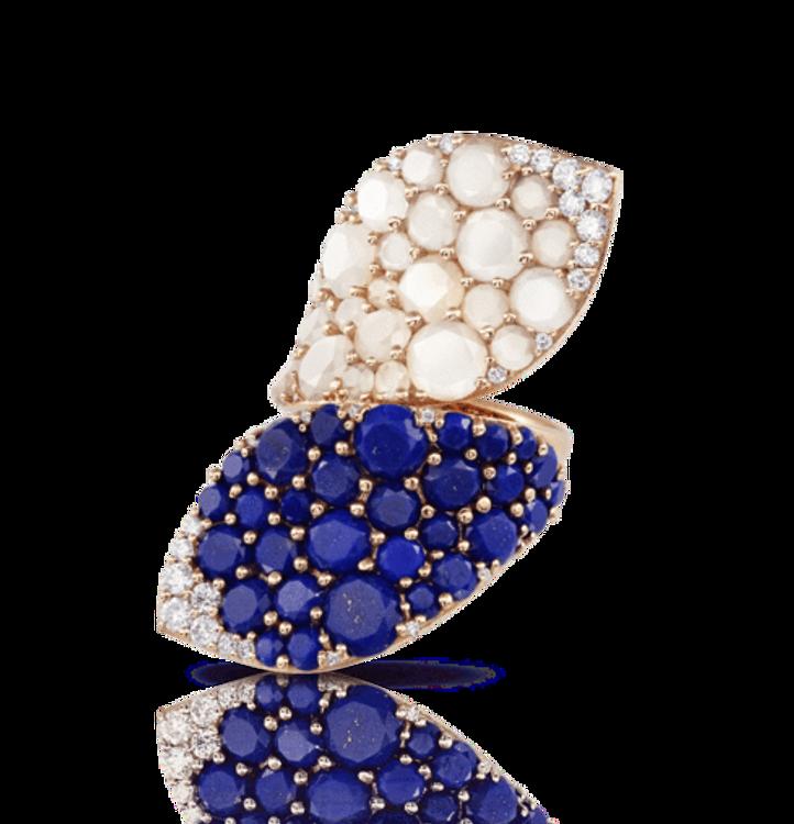 Pasquale Bruni 18k Rose Gold Lakshmi Ring with Lapis Lazuli, Moonstone and Diamonds